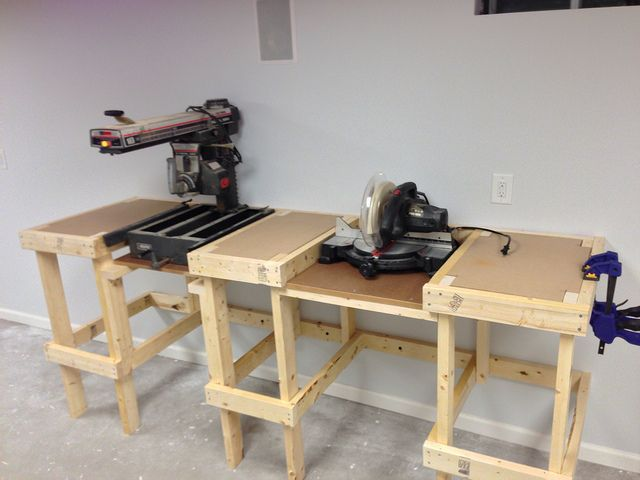 Radial Arm And Miter Saw Bench Miter Saw Bench Woodworking Shop Woodworking