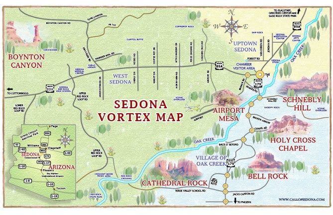 Map Of Arizona Including Sedona.Sedona Vortex Map The Call Of Sedona Where To Find An Energy