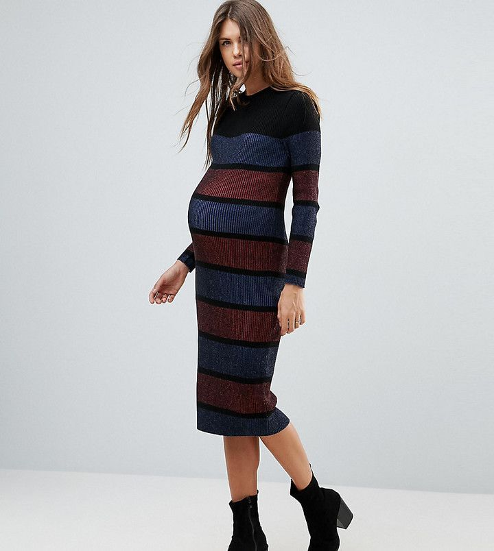 b4d2ace3bce ASOS Maternity Knitted Midi Dress In Stripe