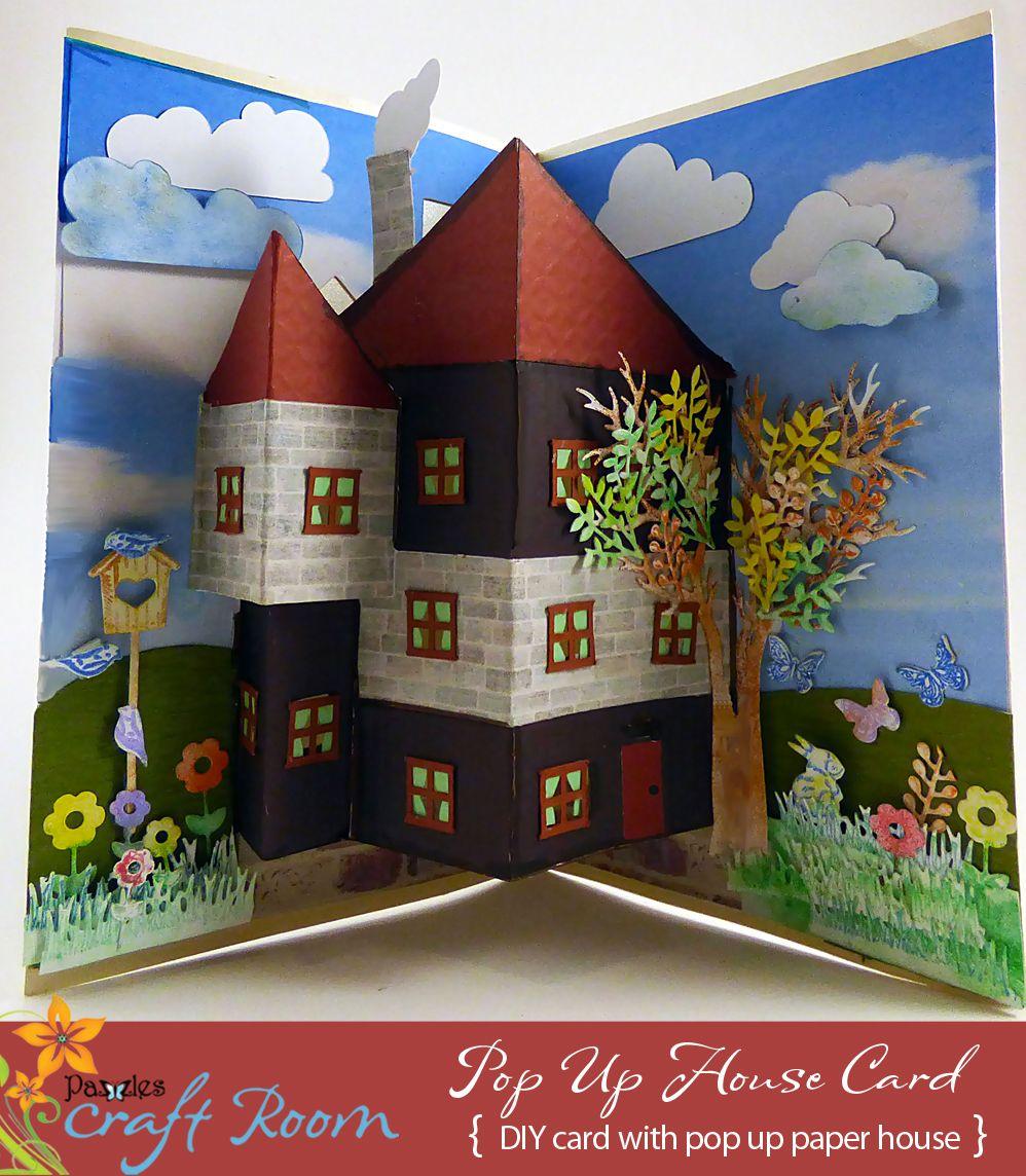 pop up house card diy popup cards. Black Bedroom Furniture Sets. Home Design Ideas