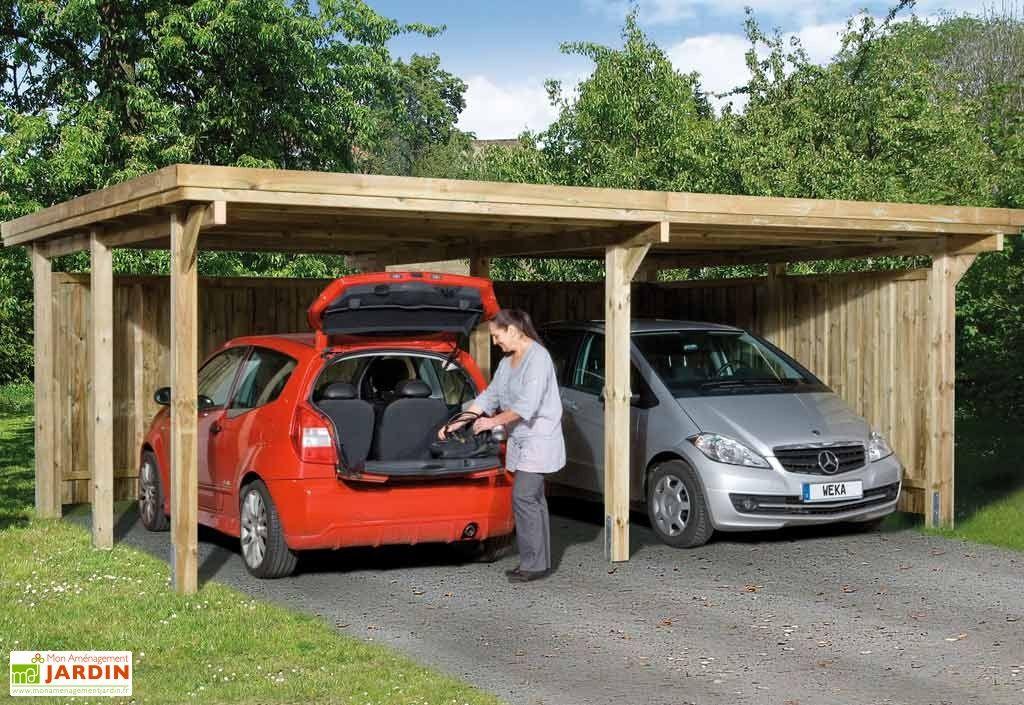 Carport Bois Optima Duo 2 Voitures (Plusieurs Tailles) Carport - Montage D Un Garage En Bois