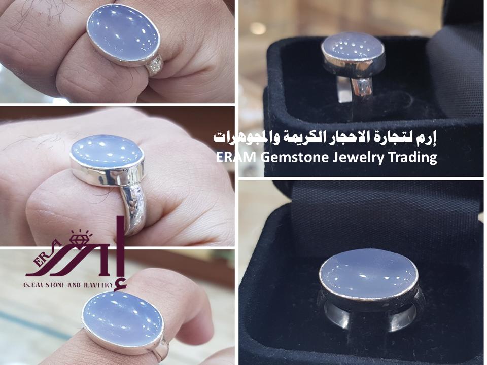 خاتم ملكي عقيق يمني سماوي طبيعي100 Agate للعرض Gemstone Jewelry Gemstones Jewelry