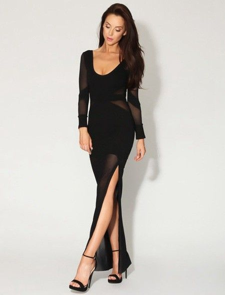 Black Long Sleeve Side Open Mesh Maxi Dress