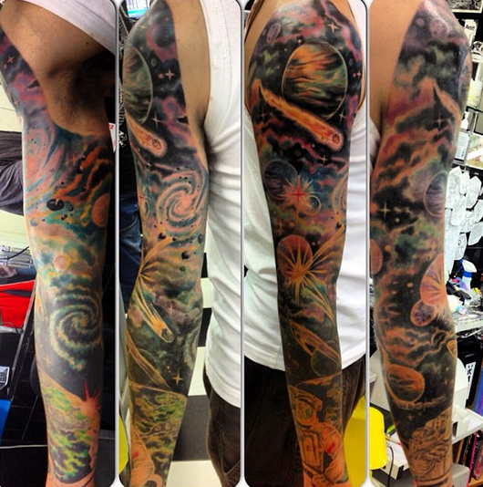 27 themed tattoo sleeves that are basically works of art for How to blend tattoos into a sleeve