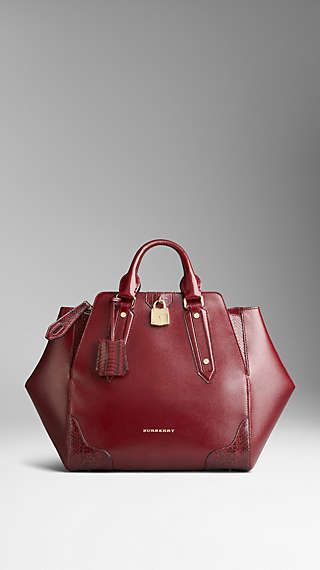 Snakeskin Detail London Leather Tote Bag