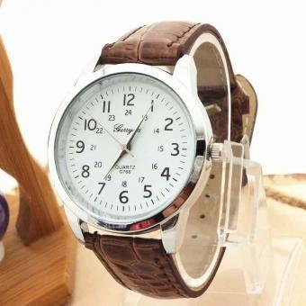 4d8371b48cc7 Reloj Correa de cuero de lujo deportivo para hombre reloj de pulsera-Marrón