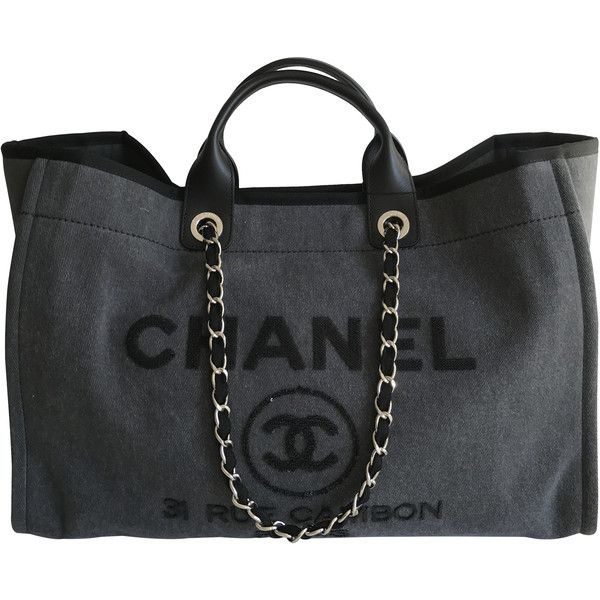 e3e56dcde45 Pre-Owned Chanel Deauville Sequins Large Tote Charcoal Grey Cruise... (42  790 SEK) ❤ liked on Polyvore featuring bags