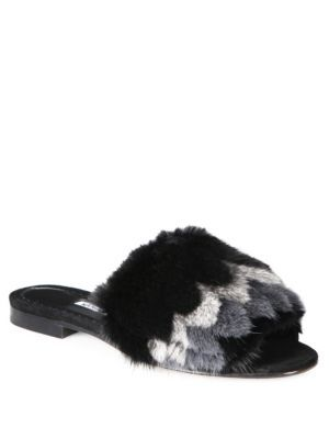 MANOLO BLAHNIK Pelosumin Mink Fur & Suede Slides. #manoloblahnik #shoes #slides