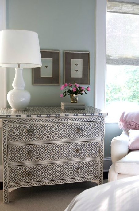 fetching image of bedroom decoration using sage green | Suzie: Sage Design - Sage green paint color, bone inlay ...