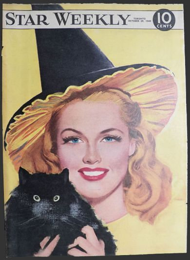 1949 Star Weekly Cover ~ Woman in Witch Hat with Black Cat