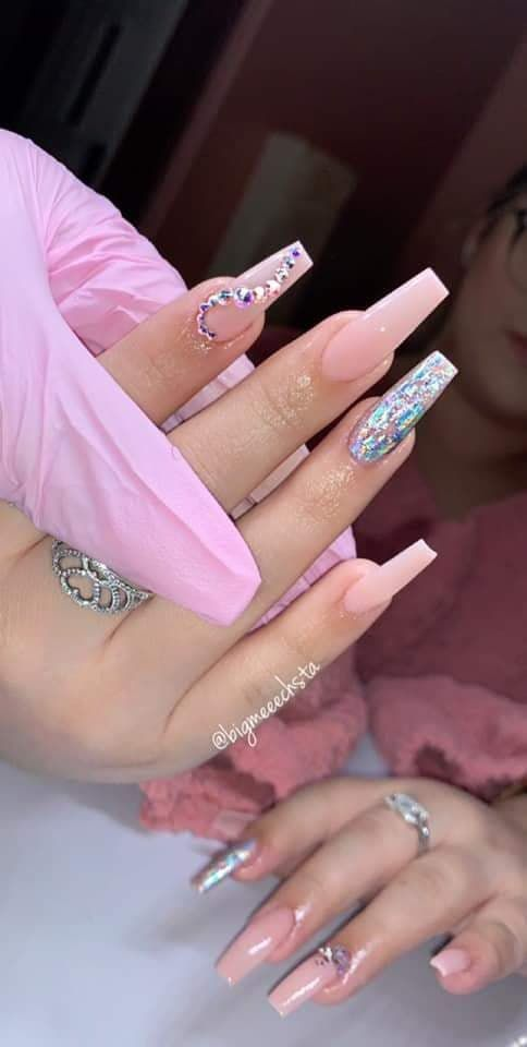 Pink Coffin Nails With Rhinestones Winter Nails Bling Nails Trendy Nails Wedding Nails Pink Acrylic Nails Rhinestone Nails Pink Nails