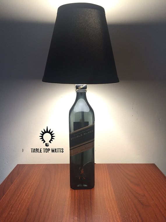 Classic Whiskey Liquor Bottle TABLE LAMP w// Wood Base Bar Lounge Man Cave Decor