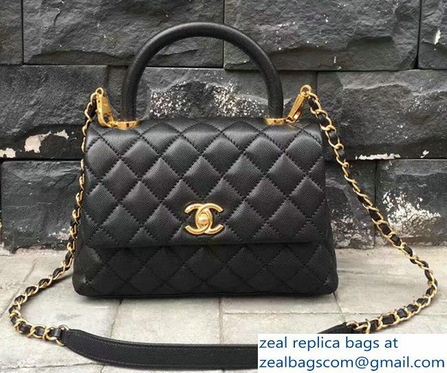 Chanel Coco Top Handle Flap Shoulder Bag Grained CalfskinA92991 Black 2017 90bdcf81cecbd