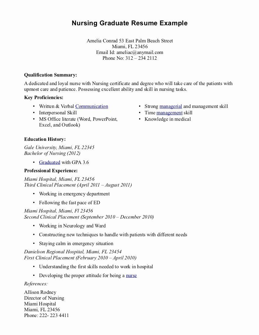 30 New Graduate Nurse Resume Examples Nursing Resume Examples