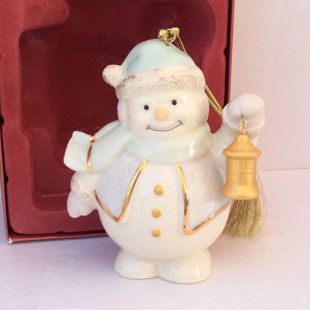Lenox Standing Snowman With Lantern Porcelain Christmas