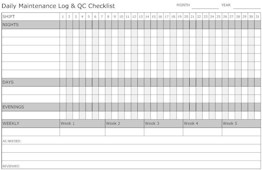 Daily maintenance log vehicle maintenance log templates