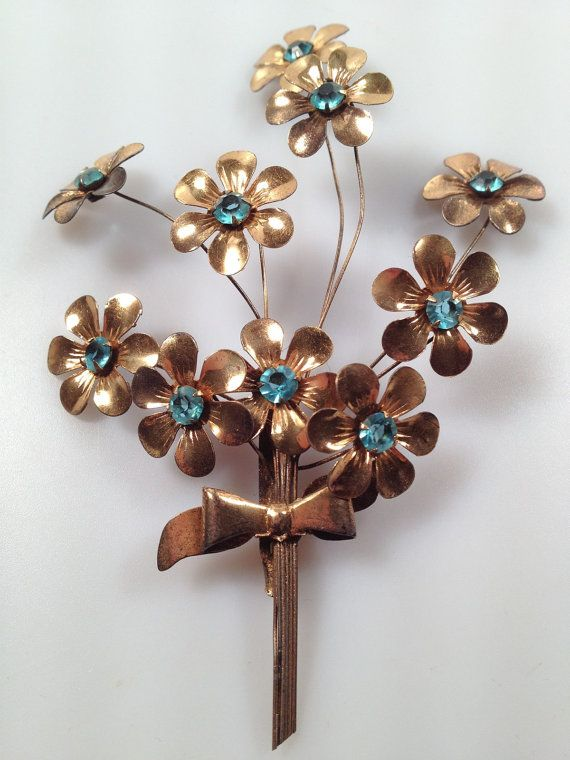 bc84b193f3b 1940s FLORAL Spray Brooch En TREMBLANT Gold by thepopularjewelry, $149.00