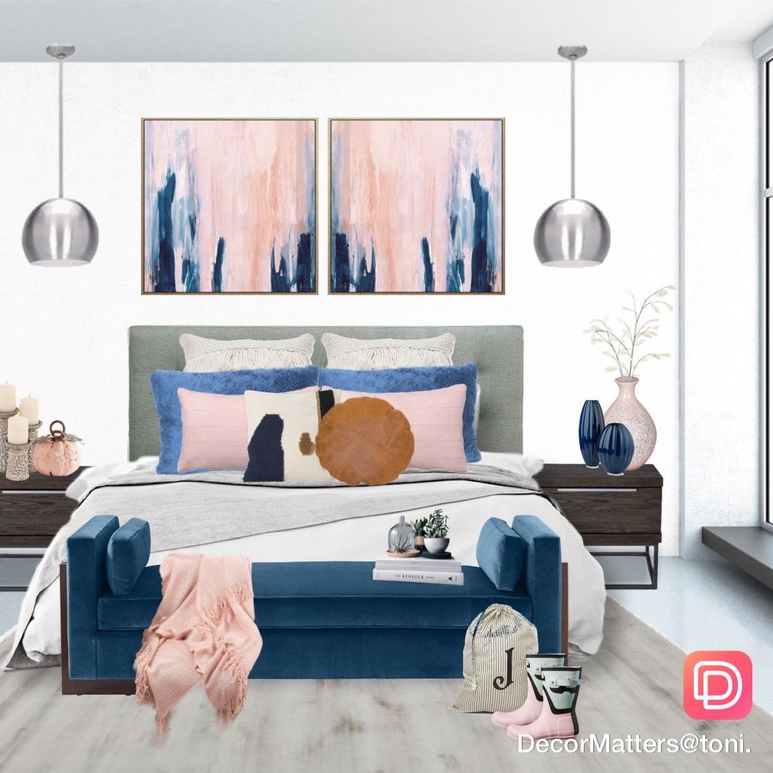 pretty home decor blue and pink interior color scheme