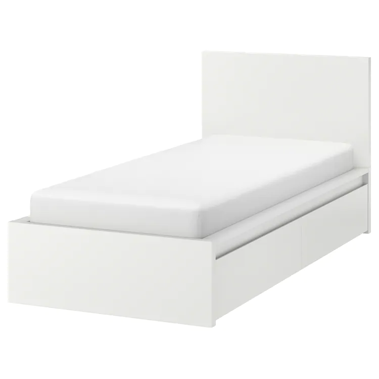 Malm High Bed Frame 2 Storage Boxes White Luroy Twin Ikea In 2020 High Bed Frame Malm Bed Frame Malm Bed