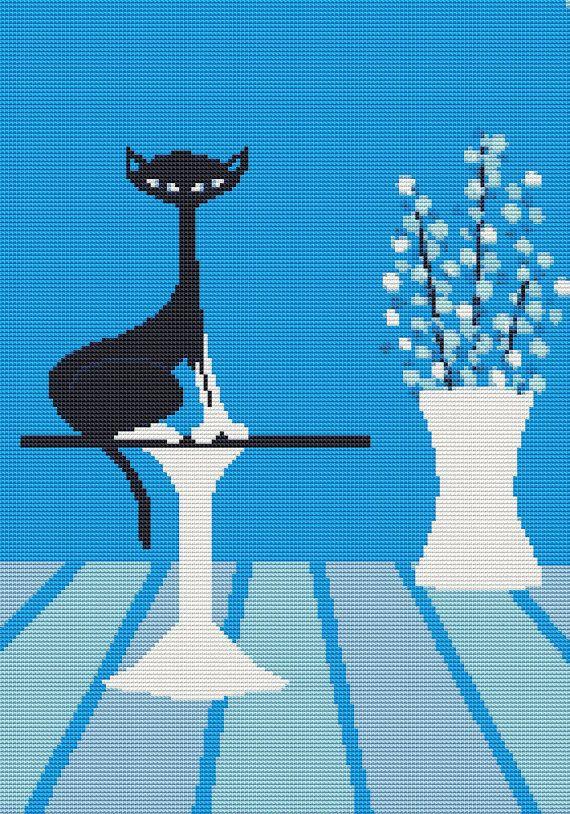 Modern Cross Stitch Kit' Lyro Cat' By Kerry Beary by GeckoRouge, $75.00