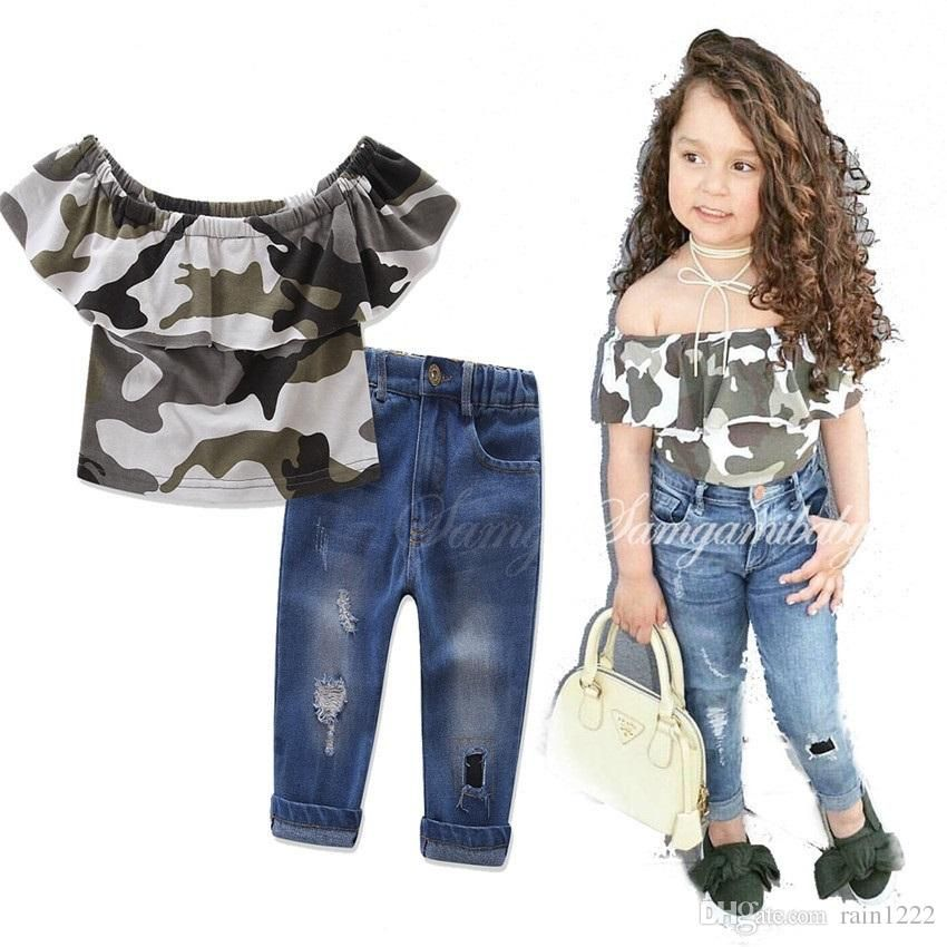 New baby children/'s clothing baby girl T-shirt top hole pants suit