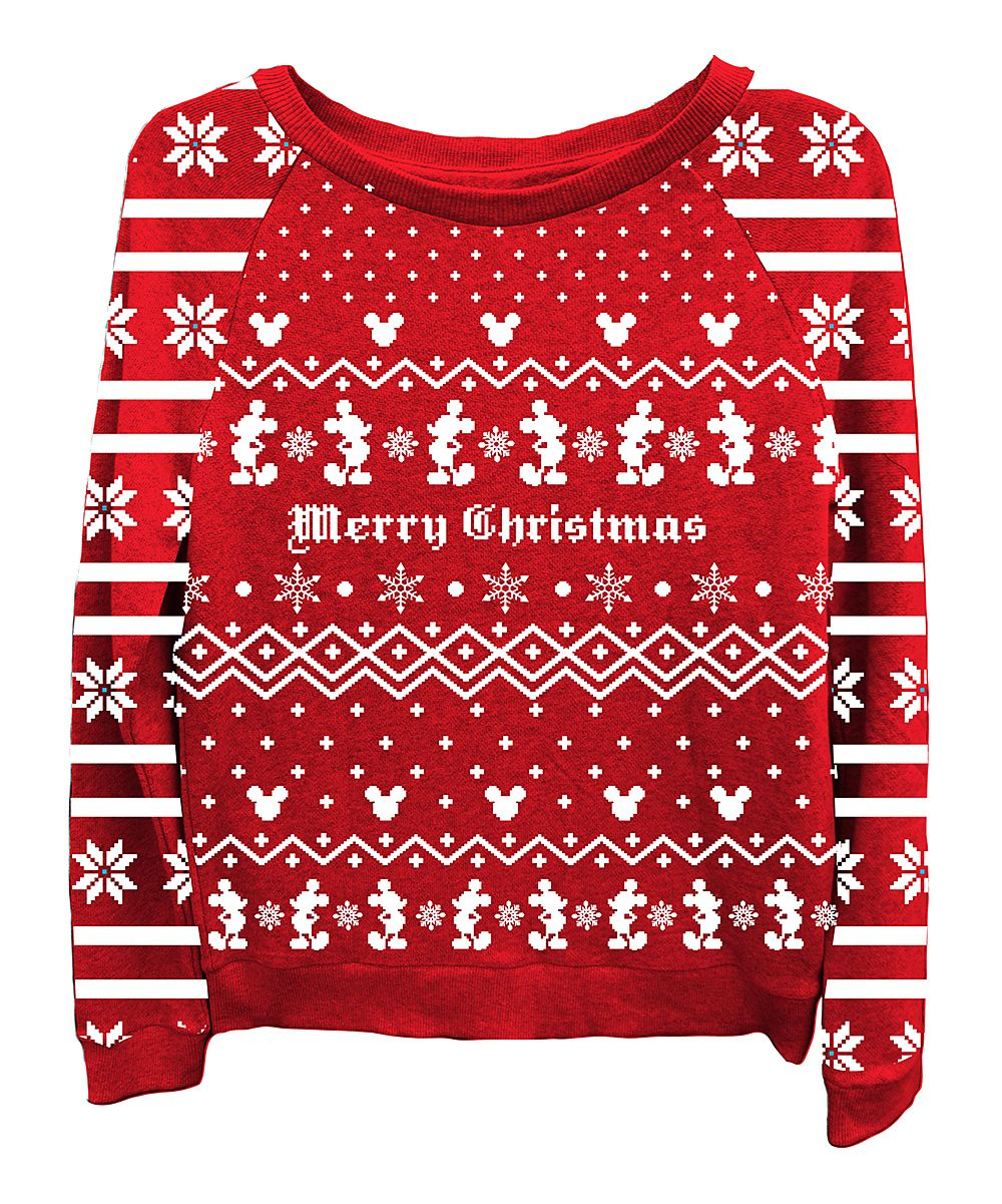Red Mickey Mouse Merry Christmas Sweatshirt Women Zulily