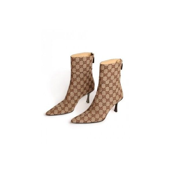 0c51b82ebd2 Gucci Monogram-Logo Ankle Boots ❤ liked on Polyvore | Gucci | Gucci ...