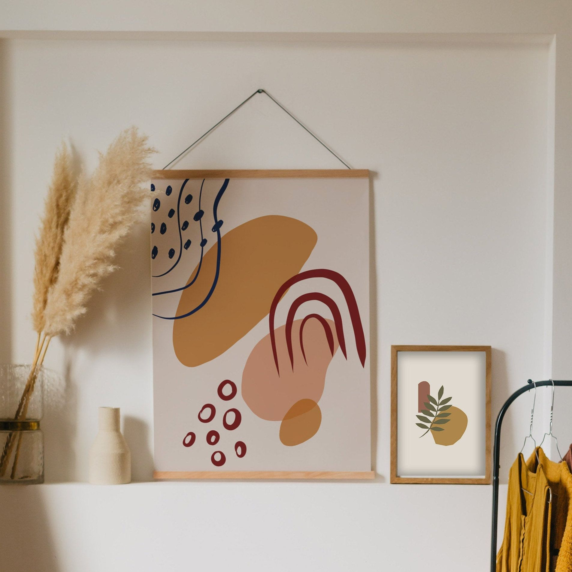 Abstract shapes wall art yellow beige neutral print boho