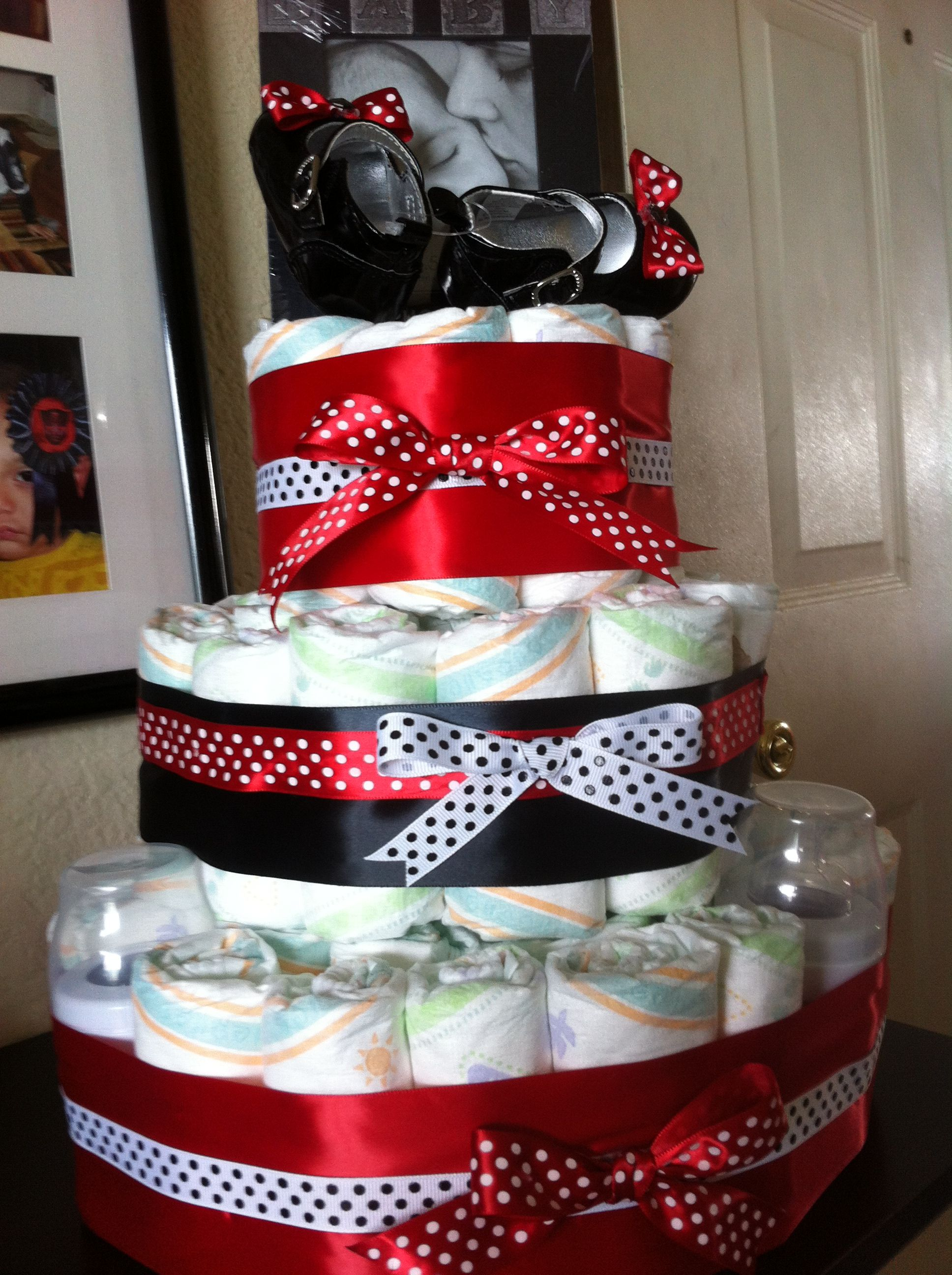 Baby Girl Diaper Cake Red Black Minnie Mouse