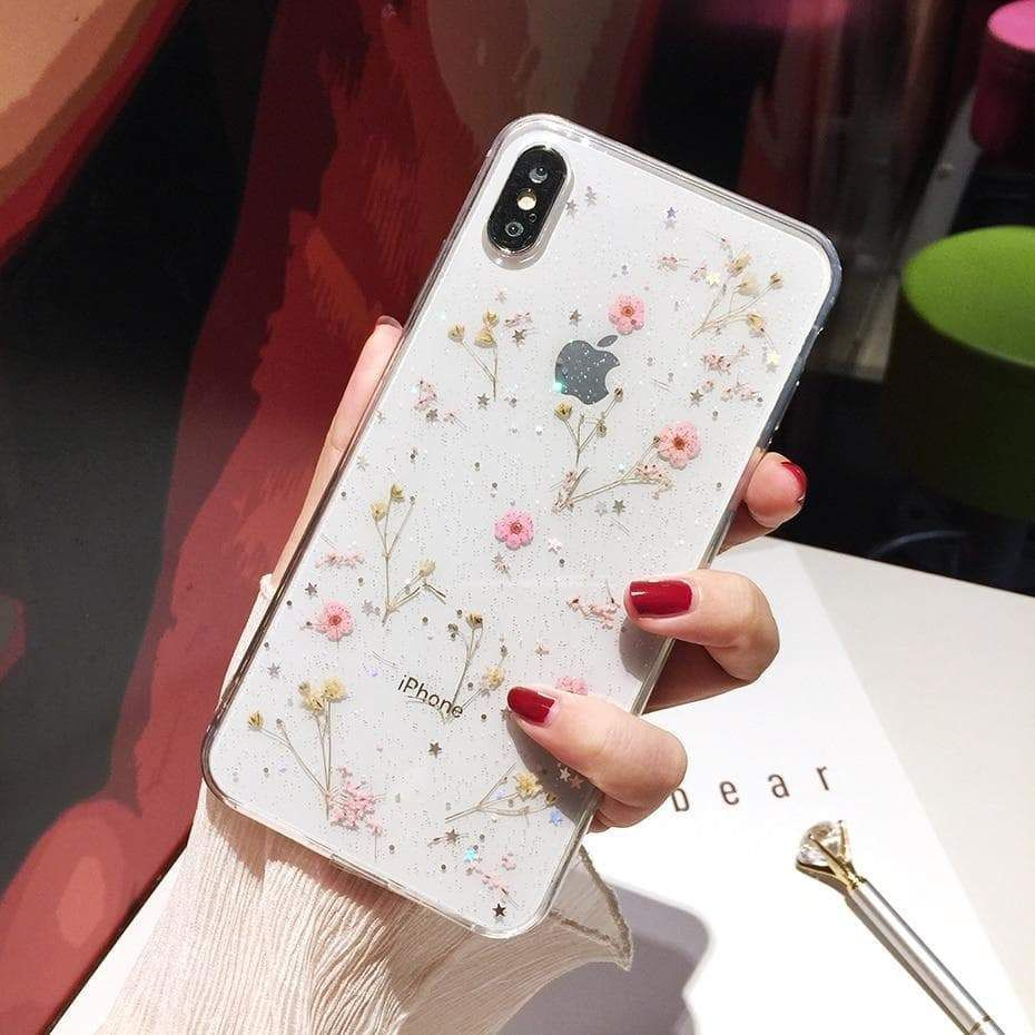 Dainty pink pressed flowers iphone case daisy iphone