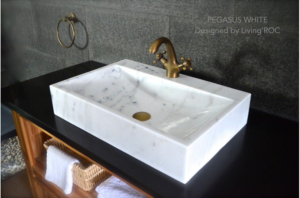 Bathroom White Marble Vessel Sink + Faucet Hole   PEGASUS WHITE Reference:  BB514EW US