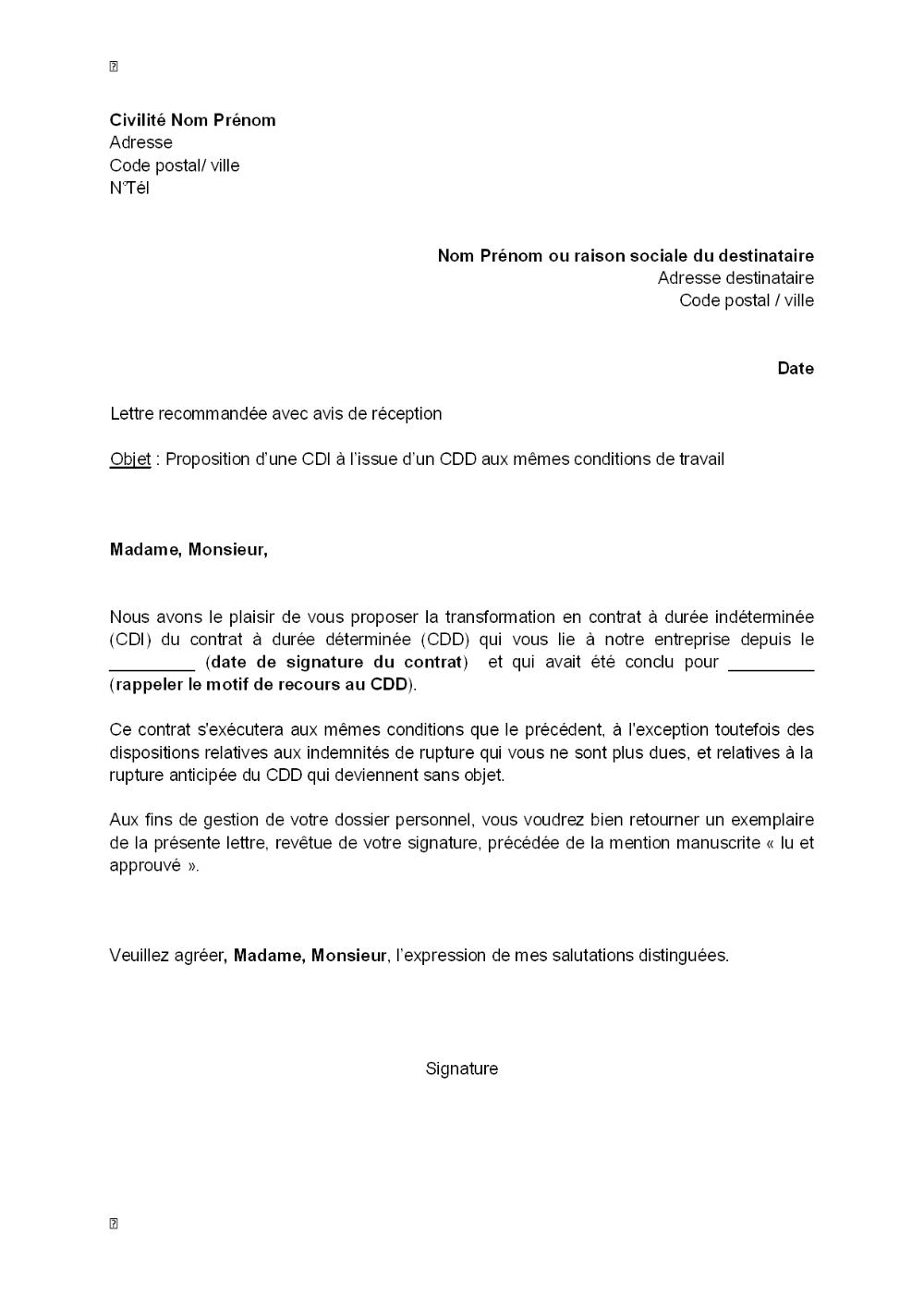 Lettre De Proposition D Un Cdi A L Issue D Un Cdd Aux Memes