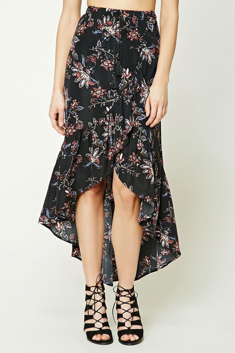 J floral ruffle maxi skirt spódnice pinterest ruffles