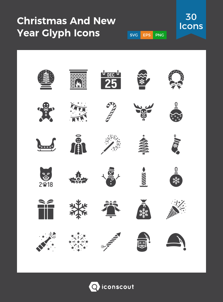 Download Christmas And New Year Glyph Icons Icon pack