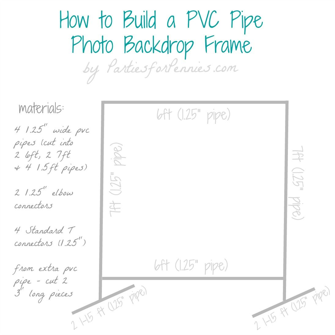 diy photo backdrop frame with pvc pipe by partiesforpenniescom