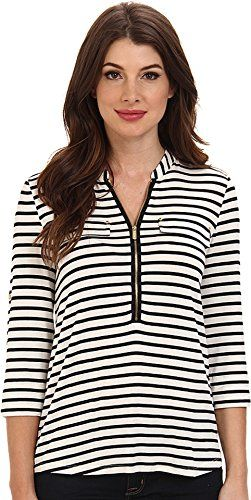 2bfe346fb4e11 Calvin Klein Women s Modern Essential Striped Zip Front Roll Sleeve How To Roll  Sleeves