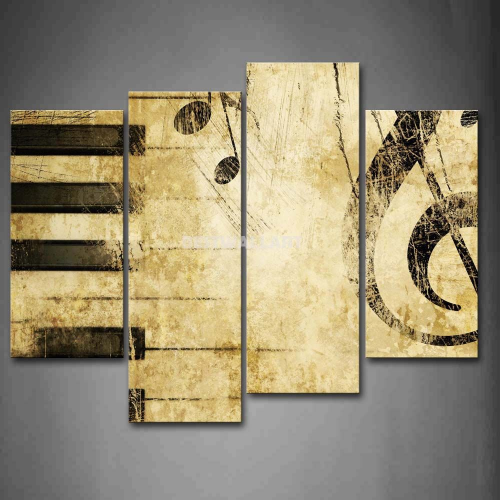 Note And Piano\'S Keys In The Paper 4 Piece Painting On Canvas Wall ...