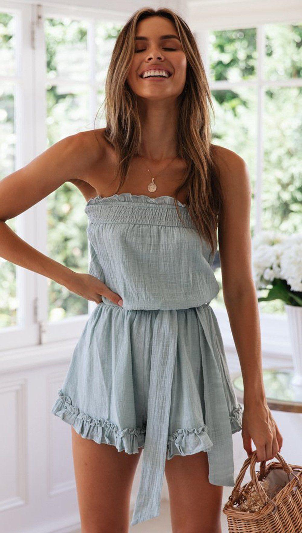 Slate Blue Off-the-shoulder Rompers – Jassie Line #summerfashion
