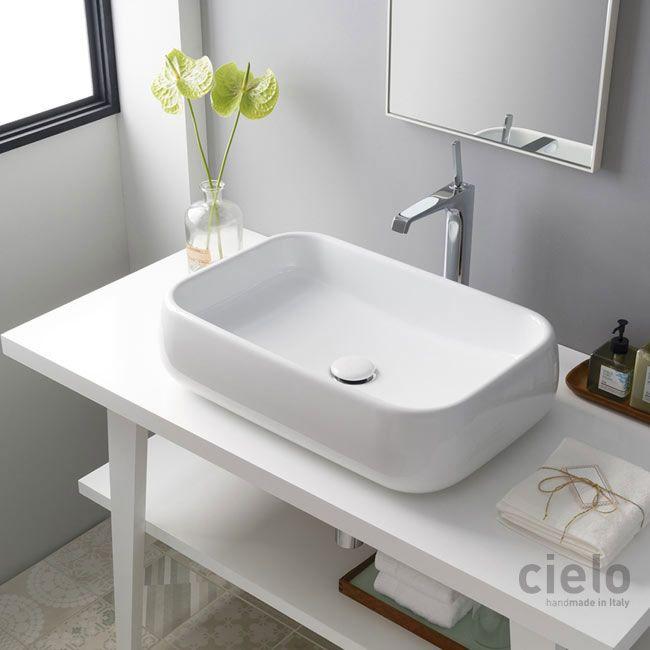 Lavabo da appoggio 60 Bianco Shui - Lavabo Bianco da bagno Ceramica ...