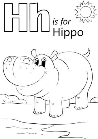 Letter H Is For Hippopotamus Coloring Page From Letter H Category Select From 26388 Printable Craf Abc Coloring Pages Alphabet Coloring Pages Letters For Kids