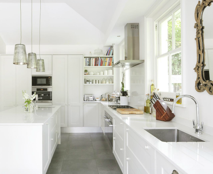 Modern European Kitchen With White Kitchen Cabinets, White Kitchen Island,  White Quartz Counter Top