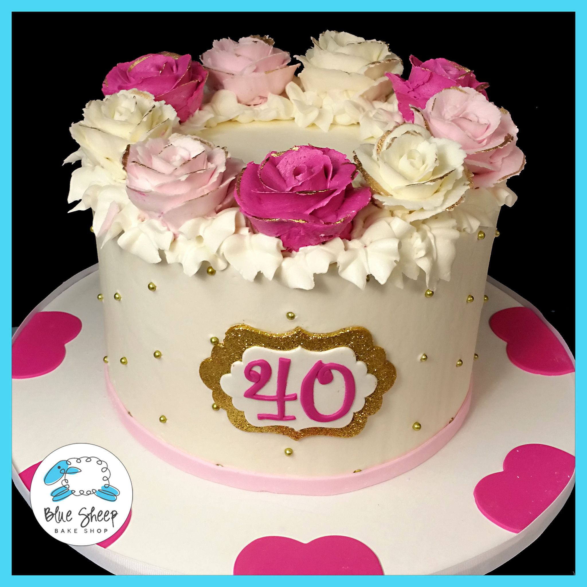 Pink And Gold Rose Wreath 40th Birthday Cake Nj Cakes Hermosos