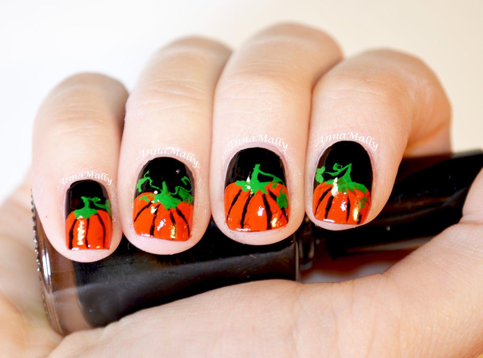 Happy Halloween! Today\'s nail art tutorial is a pumpkin fun nail art ...