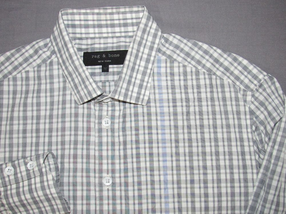 a2ee260bf89 Men s Rag   Bone Long Sleeved Checkered Plaid Casual Button Up Shirt 16  Large  fashion