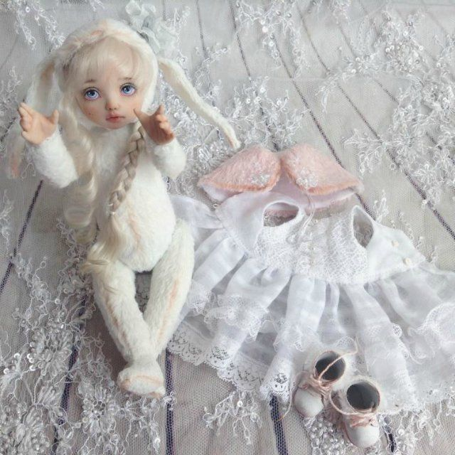 Герда. Тедди-долл зайка. Зимняя сказочная девочка / Авторские куклы (ООАК) / Шопик. Продать купить куклу / Бэйбики. Куклы фото. Одежда для кукол