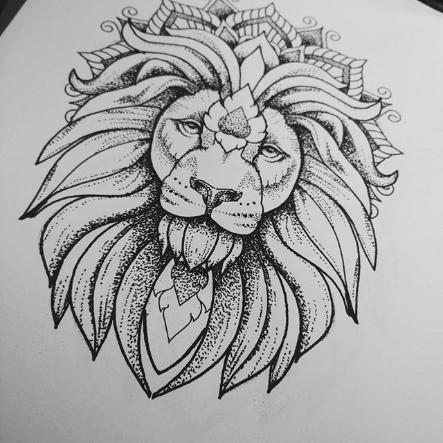 Line Drawing Jewel : Luxury dotwork lion in mandala crown tattoo design g