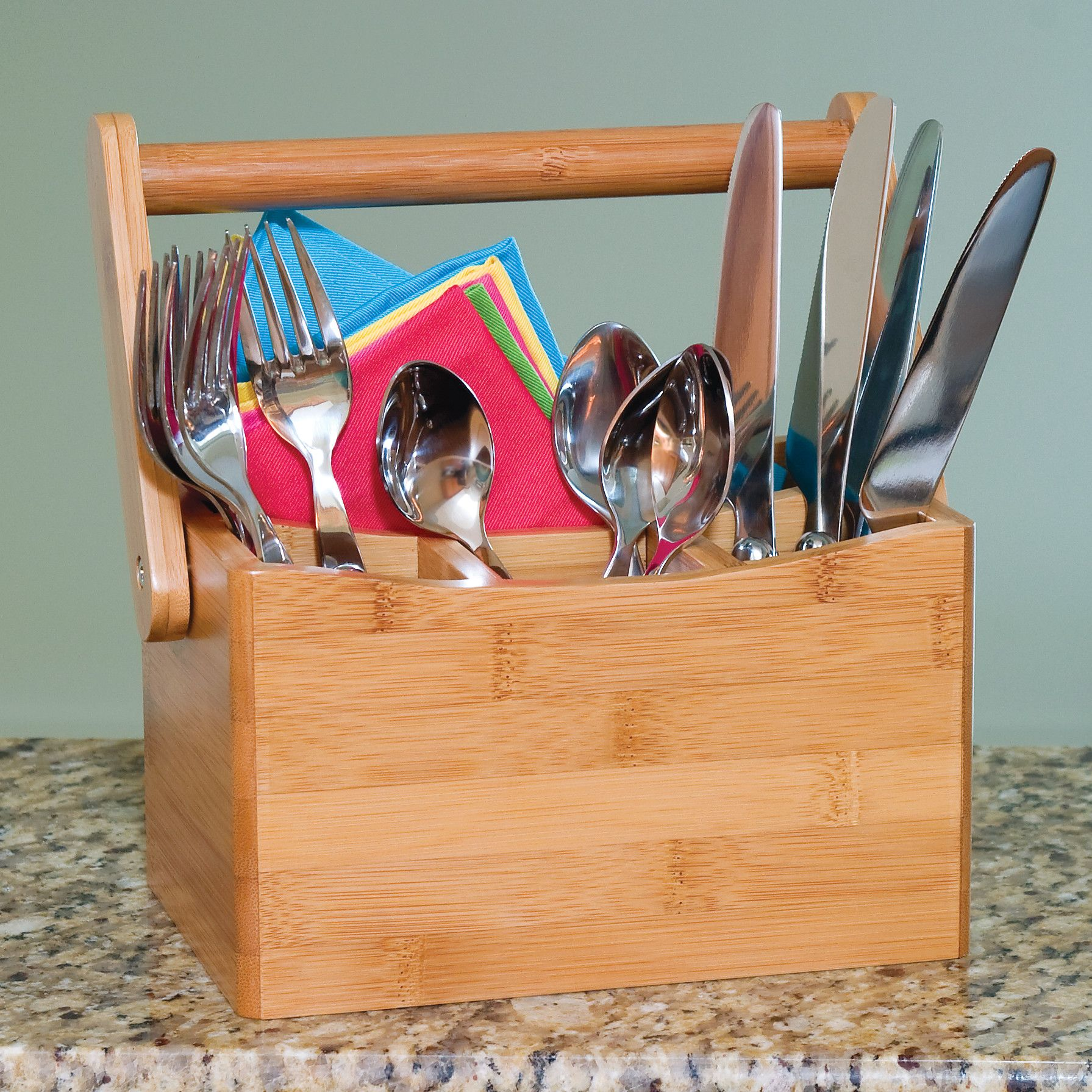 Lipper International Bamboo Flatware Caddy with Folding Handle & Reviews | Wayfair.ca