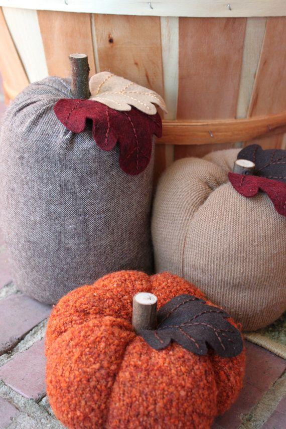fabric pumpkins - cute!
