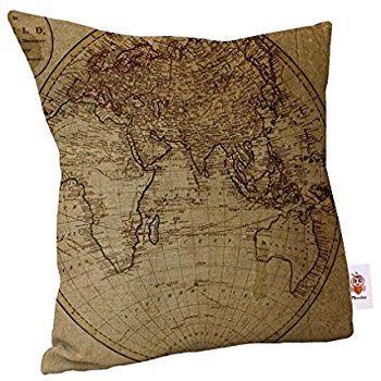 Nunubee World Map Linen Cotton Throw Pillowcase Sofa Car Pillow Cushion Cover Yellow: Amazon.co.uk: Kitchen & Home