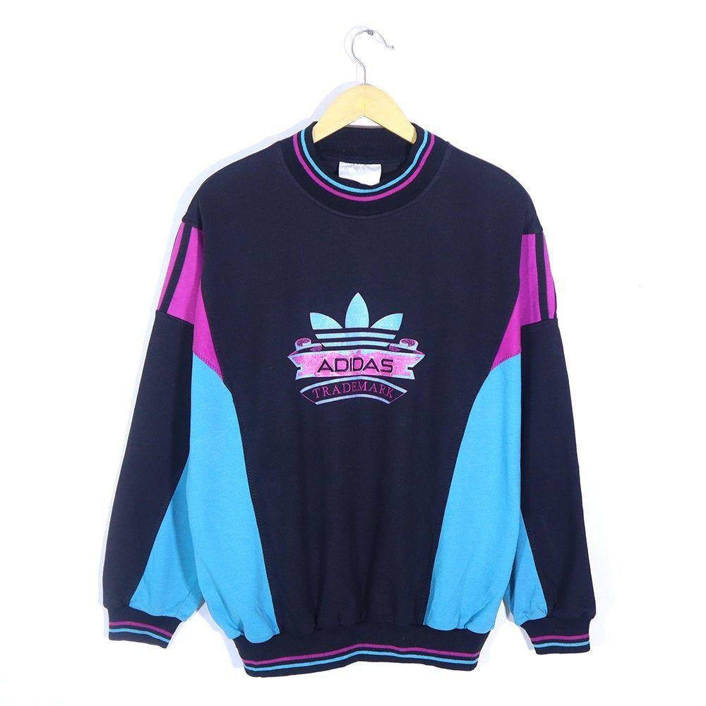 Vintage 80s 90s Adidas Trademark Sweatshirt Long Sleeve Shirt Pullover Jumper Crewneck Adidas Big L Vintage Crewneck Sweatshirt Adidas Pullover Long Sweatshirt [ 1000 x 1000 Pixel ]